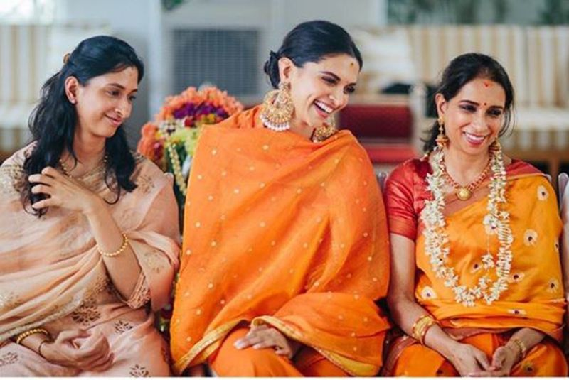 Deepika Paukone with her mother and sister