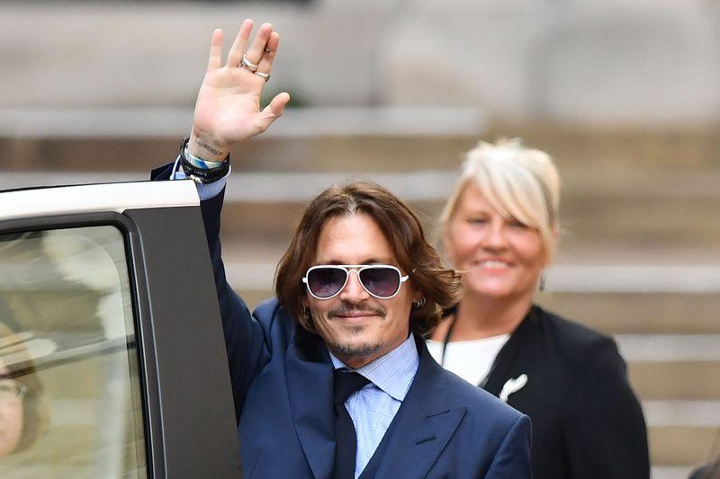 Johnny Depp outside a court in London