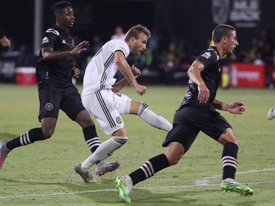 Philadelphia Union's Kapcer Przybylko scores against Inter Miami