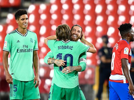 Real Madrid's Sergio Ramos with Luka Modric after the win over Granada