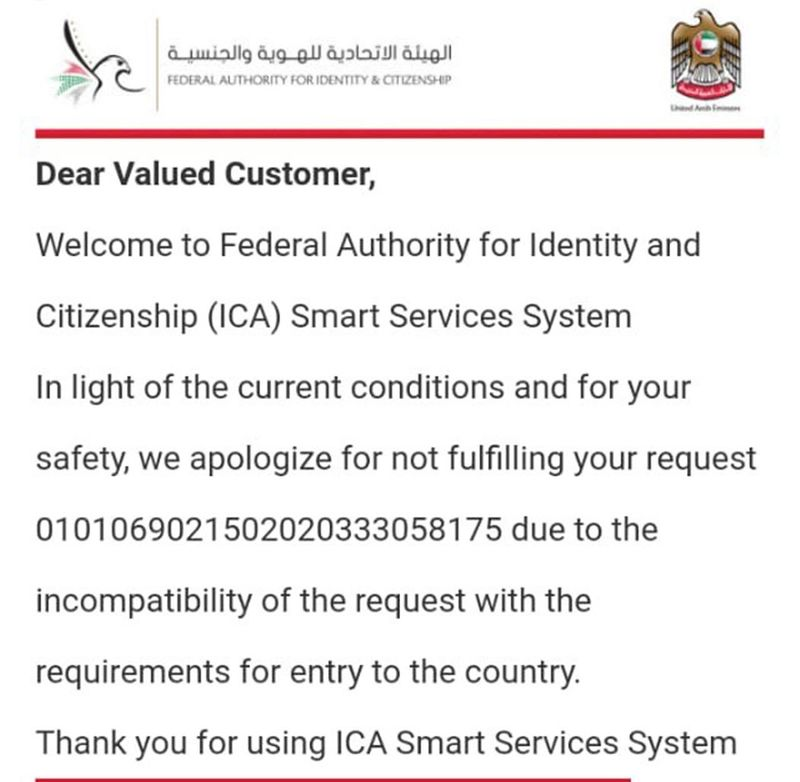 The notice received from the ICA