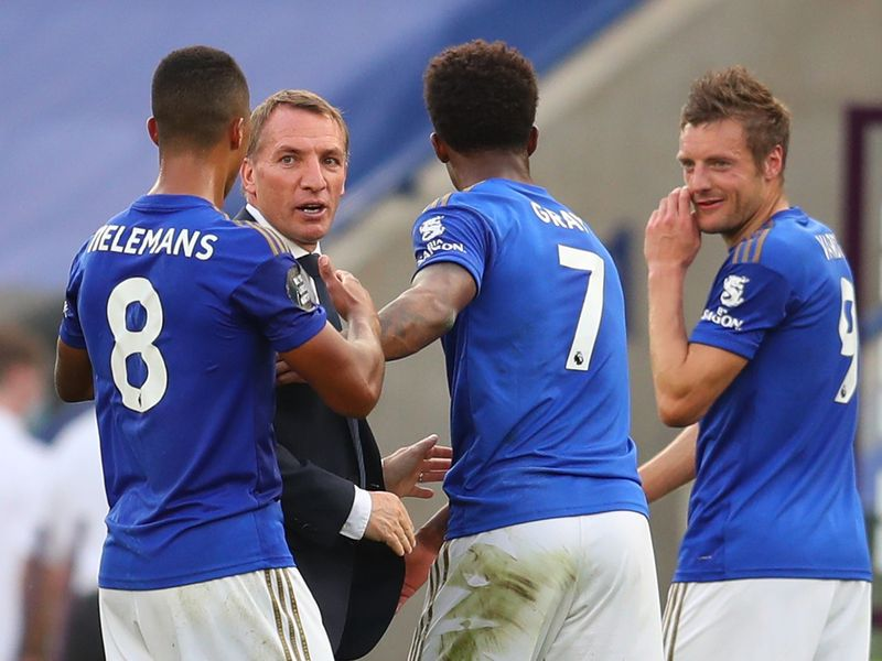 Leicester City manager Brendan Rodgers with Youri Tielemans, Demarai Gray and Jamie Vardy after the win over Sheffield United