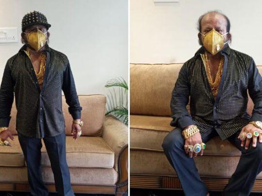 Odisha man wears a gold mask