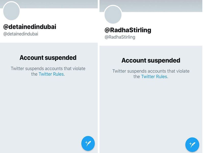 Twitter accounts of Radha Sterling and Detained in Dubai have both been suspended for violating Twitter rules