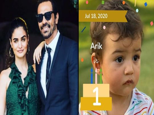 Arjun Rampal with Gabriella Demetriades and his son Arik
