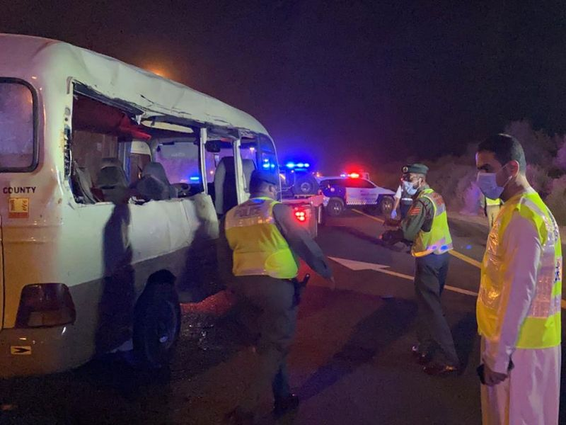 Four were killed and 11 injured when a bus crashed into the side of a heavy goods lorry that had broken down and was trying to move to the side of the road on Saturday