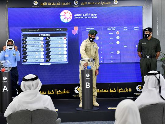 Held under the slogan 'Thank you, our first line of defence', the UAE Pro League conducted the draws for the 2020-2021 Arabian Gulf League and Arabian Gulf Cup at the Ministry of Health and Prevention in Dubai on Saturday.