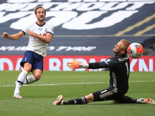 - Tottenham Hotspur's English striker Harry Kane (L) scores past Leicester City's Danish goalkeeper Kasper Schmeichel, but is ruled to have been off-side during the English Premier League football match between Tottenham Hotspur and Leicester City at Tottenham Hotspur Stadium