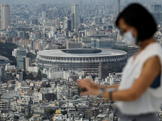 The National Stadium, the main stadium of Tokyo 2020 Olympics and Paralympics, is seen from observation deck in Tokyo
