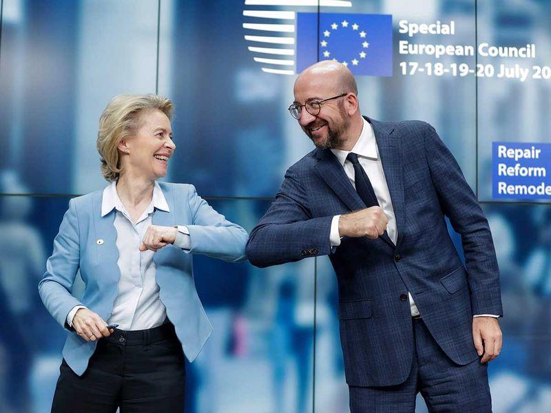 European Commission President Ursula Von Der Leyen  and European Council President Charles Michel European summit Brussels