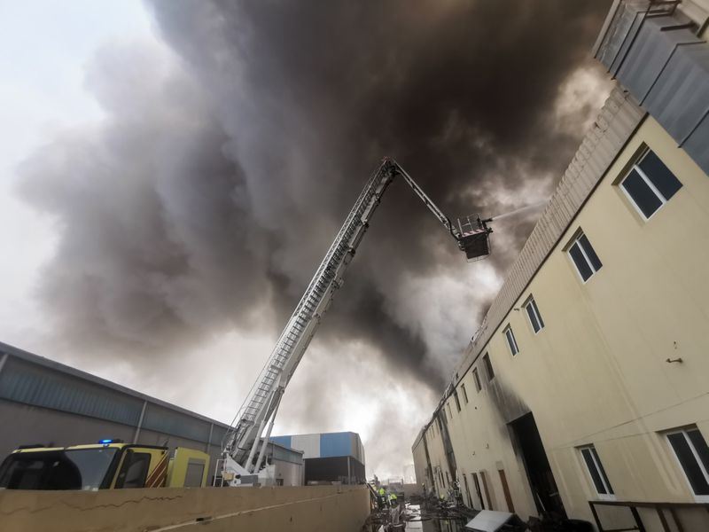 Images from the fire in a warehouse in Jebel Ali