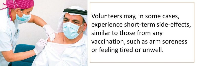 Volunteers may experience short-term side-effects