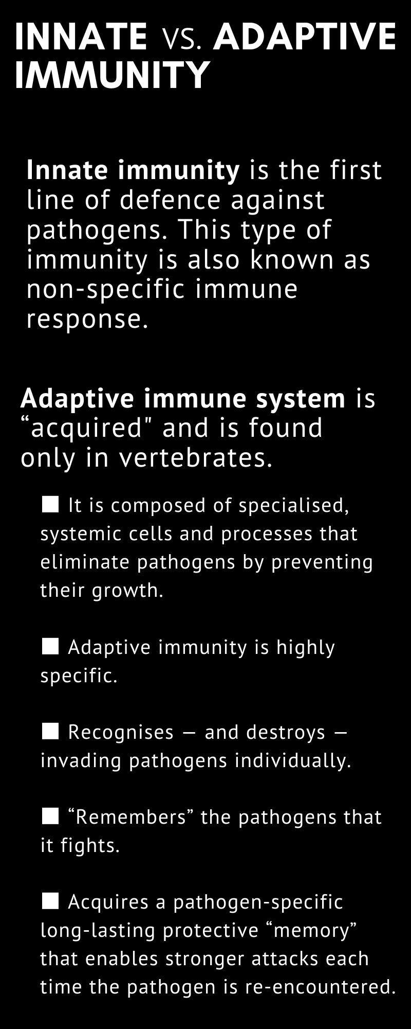 Immunity innate vs adaptive