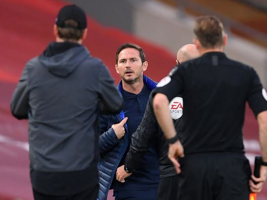 Chelsea manager Frank Lampard argues with Liverpool boss Jurgen Klopp