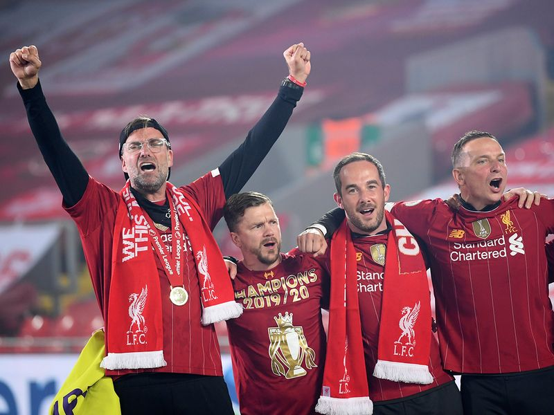 Liverpool manager Jurgen Klopp celebrates at Anfield