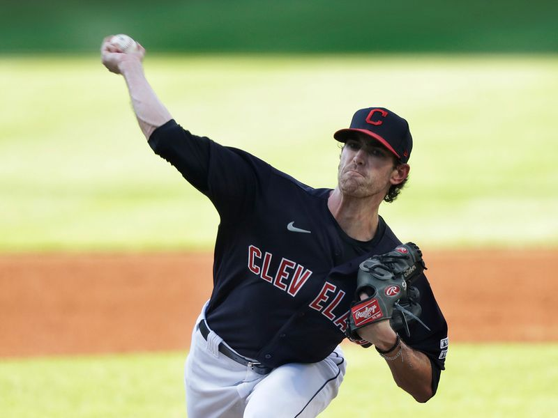 Cleveland Indians Shane Bieber delivers in the first innings