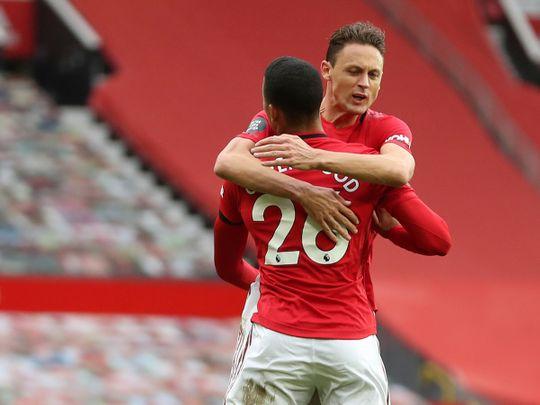 Manchester United's Mason Greenwood celebrates after scoring against West Ham