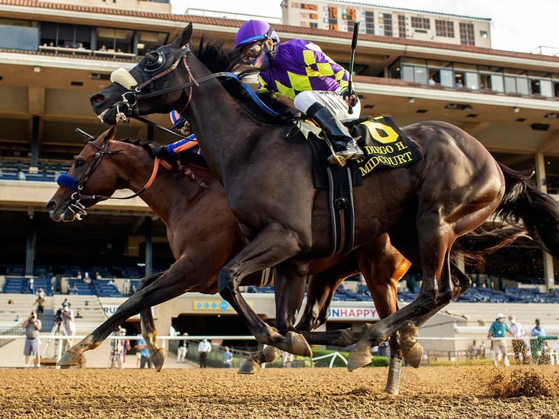 In this image provided by Benoit Photo, Maximum Security, outside, with Abel Cedillo aboard, overpowers Midcourt, inside, with Victor Espinoza aboard, to win the Grade II, $150,000 San Diego Handicap horse race Saturday, July 25, 2020, at Del Mar Thoroughbred Club in Del Mar, Calif. (Benoit Photo via AP)