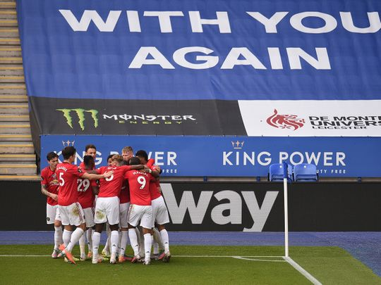 Manchester United celebrate the opener against Leicester