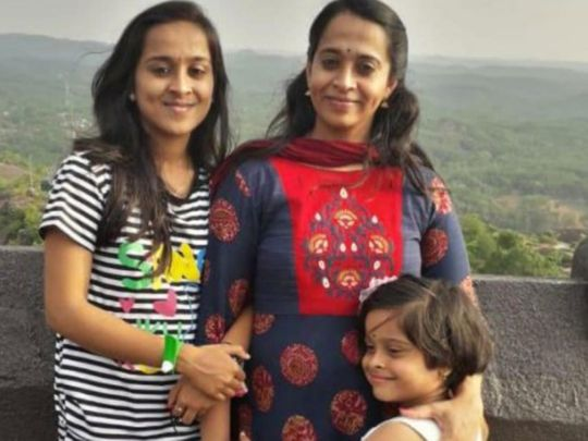 Vidhya with her daughters Shradha and Varadha.