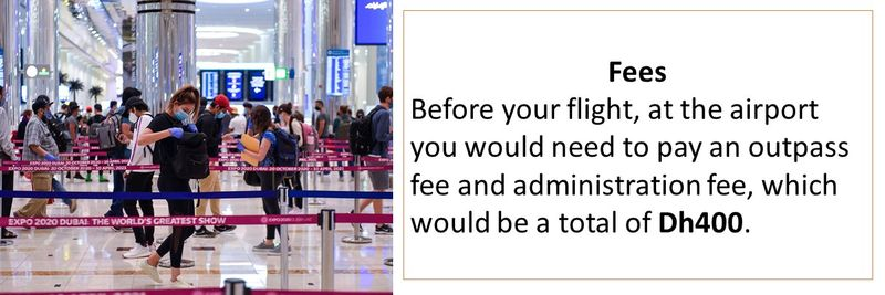 Before your flight, at the airport you would need to pay an outpass fee and administration fee, which would be a total of Dh400.
