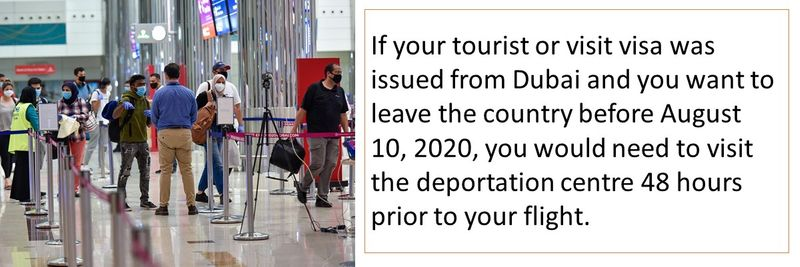 If your tourist or visit visa was issued from Dubai and you want to leave the country before August 10, 2020, you would need to visit the deportation centre 48 hours prior to your flight.
