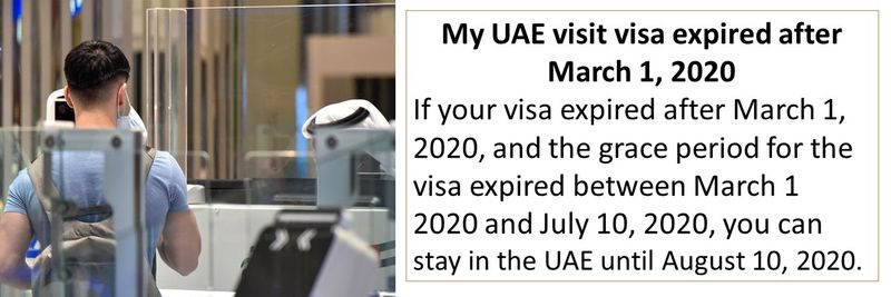 If your visa expired after March 1, 2020, and the grace period for the visa expired between March 1 2020 and July 10, 2020, you can stay in the UAE until August 10, 2020.