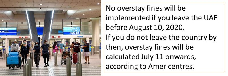 No overstay fines will be implemented if you leave the UAE before August 10, 2020.