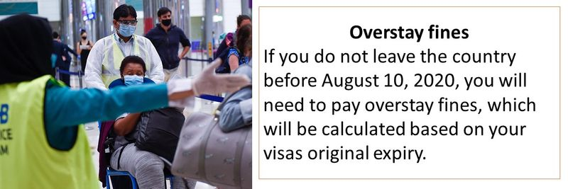 Overstay fines If you do not leave the country before August 10, 2020, you will need to pay overstay fines, which will be calculated based on your visas original expiry.