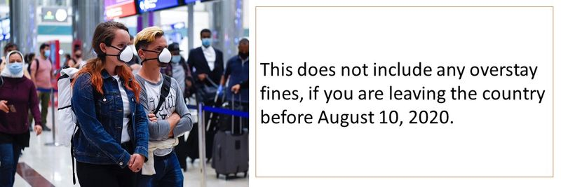 This does not include any overstay fines, if you are leaving the country before August 10, 2020.