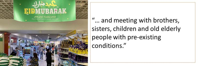 and meeting with brothers, sisters, children and old elderly people with pre-existing conditions.