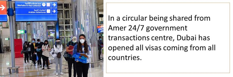 In a circular being shared from Amer 24/7 government transactions centre, Dubai has opened all visas coming from all countries.