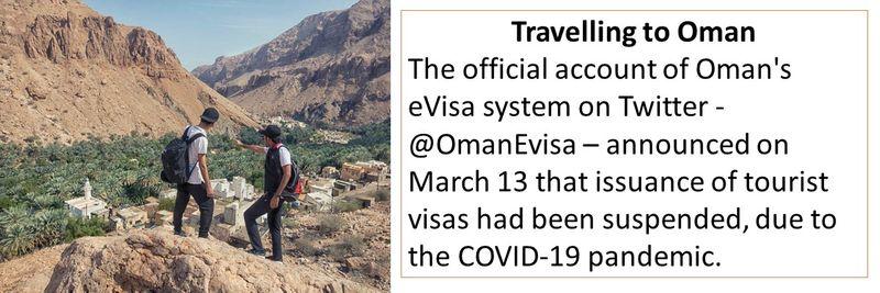 Travelling to Oman Oman's eVisa tourist visas suspended