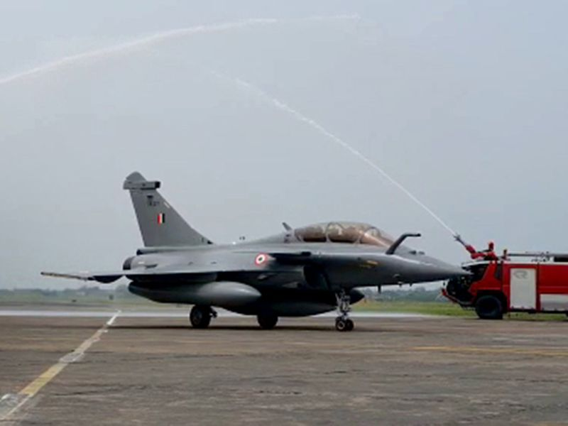 Water salute being given to the Rafale fighter aircraft.