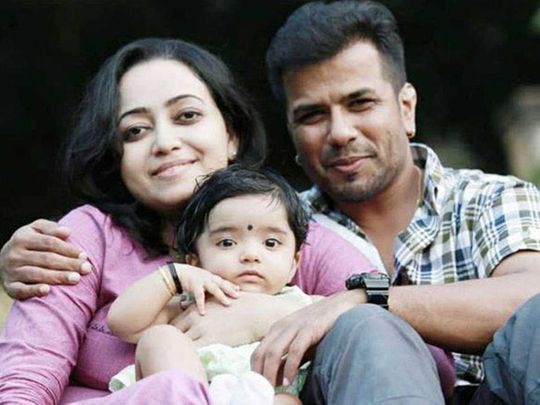Popular Kerala violinist Balabhaskar and his wife Lakshmi with their daughter Tejaswini Bala.