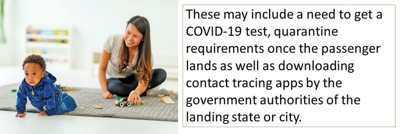 These may include a need to get a COVID-19 test, quarantine requirements, contact tracing apps