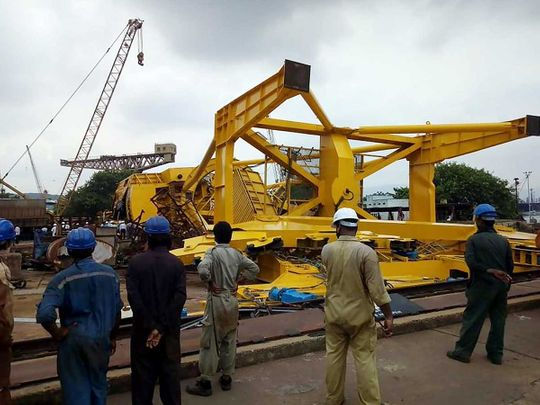 crane collapsed at the Hindustan Shipyard Limited in Visakhapatnam