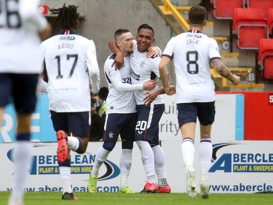 Rangers' Ryan Kent celebrates scoring against Aberdeen