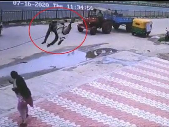 Viral video: Indian woman suffers 52 stitches to her head after a 'flying' auto driver lands on her.