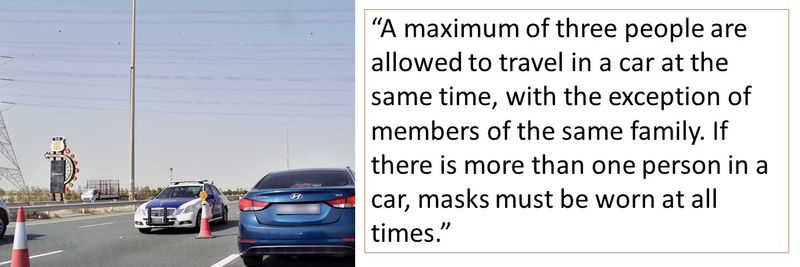"""A maximum of three people are allowed to travel in a car at the same time, with the exception of members of the same family. If there is more than one person in a car, masks must be worn at all times."""