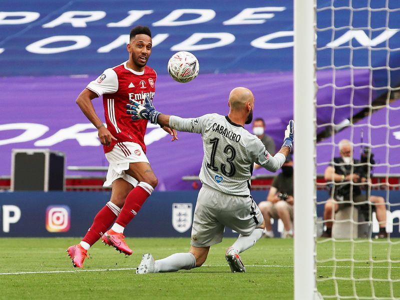 Arsenal's Pierre-Emerick Aubameyang scores their second goal