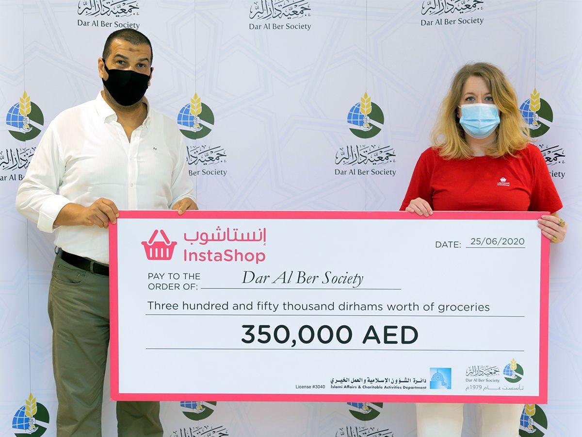 InstaShop donation Cheque