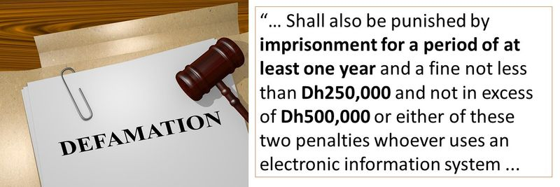 """""""… Shall also be punished by imprisonment for a period of at least one year and a fine not less than Dh250,000 and not in excess of Dh500,000 or either of these two penalties whoever uses an electronic information system ..."""
