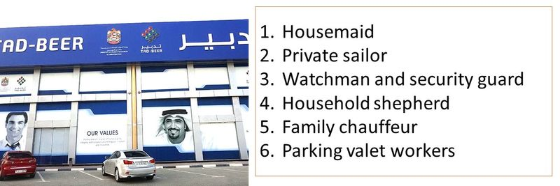 1.Housemaid 2.Private sailor 3.Watchman and security guard 4.Household shepherd 5.Family chauffeur 6.Parking valet workers