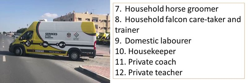 7.Household horse groomer 8.Household falcon care-taker and trainer 9.Domestic labourer 10. Housekeeper 11. Private coach 12. Private teacher