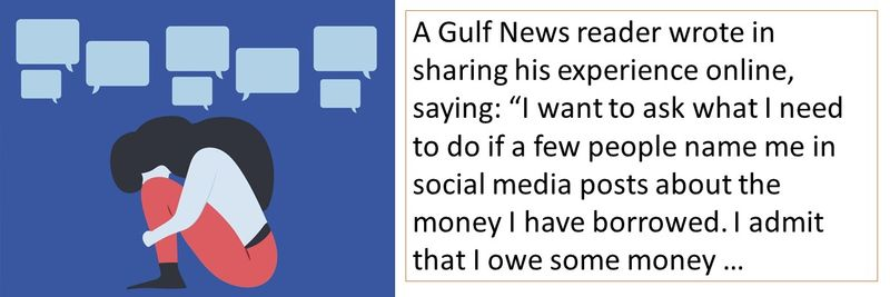 A Gulf News reader complained about his acquaintances posting about his debts on social media