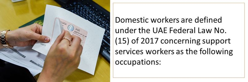 Domestic workers are defined under the UAE Federal Law No. (15) of 201