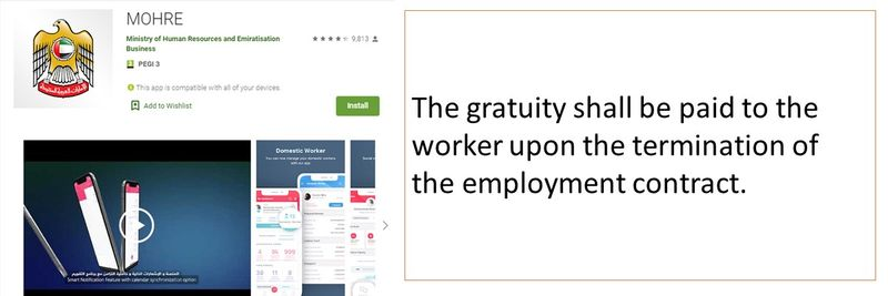 The gratuity shall be paid to the worker upon the termination of the employment contract.