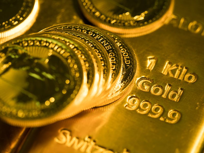 gold coins, gold bars