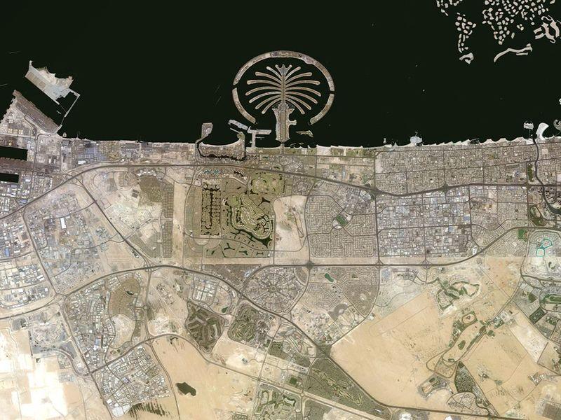 Satellite map of Dubai